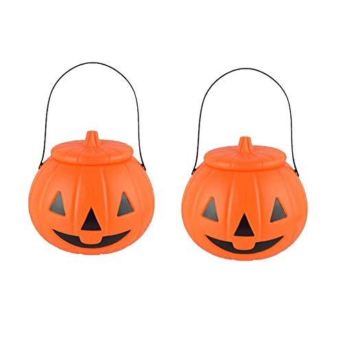 LUCHA Halloween Kürbiseimer Süßigkeiten-Eimer, Süßigkeiten-Eimer, Süßigkeiten- oder Leckerli-Tüten, Halloween-Party, Gastgeschenke, Kunststoff Kürbisbehälter mit Deckel, 3 Stück (Halloween Sie Einfach Eine Süßigkeiten-nehmen)
