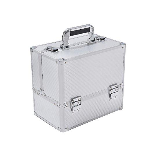 Panana Kosmetikkoffer XL Aluminium Schminkkoffe Multikoffer Werkzeugkoffer, 31x30x21cm - Silber