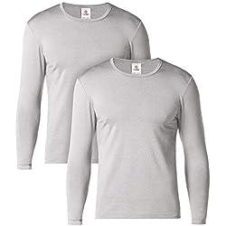 LAPASA Pack de 2 Camiseta Térmica de Manga Larga para Hombre (L, Heather Gris)