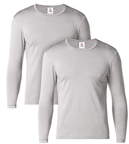 Lapasa uomo t-shirt termica pacco da 2 o 1 -ti tiene al caldo senza stress- intimo maniche lunghe invernale lightweight m09 (m(torace 96-102 cm), grigio chiaro(pacco da 2))