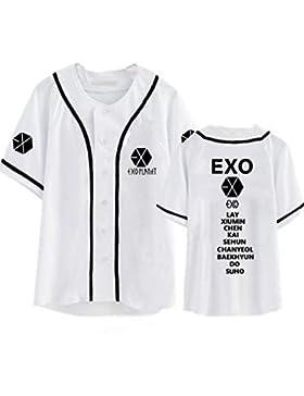 KPOP Exo Harajuku Camiseta de Béisbol Chanyeol Sehun Xiumin Baekhyun Suho Fan Hip Hop Camiseta de Manga Corta...