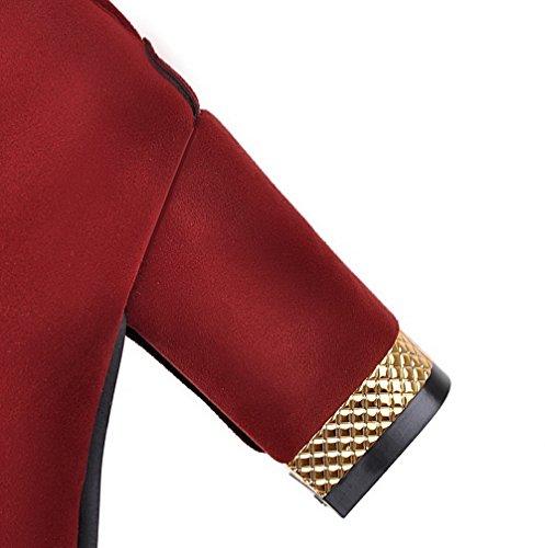 VogueZone009 Donna Punta Tonda Cerniera Pelle di Mucca Puro Tacco Alto Stivali Rosso
