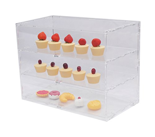 Thekendisplay für Bäckerei / Delikatessen / Gebäck / Cupcake / Donut, in 8 Größen, acryl, farblos, BAKERY DELICATESSEN PASTRY CUP CAKE DONUT FOOD COUNTER DISPLAY CASE CABINET (3 level / tier) WIDE (Cabinet Display Vitrine)