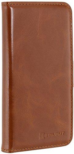StilGut Talis Schutz-Hülle für iPhone 8 Plus & iPhone 7 Plus (5,5 Zoll) mit Kreditkarten-Fächern aus echtem Leder, Cognac Vintage Cognac
