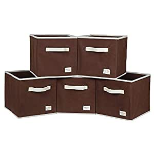 uberlyfe Kids Polyester Toy Storage Box (Brown, KSB-001003-CUB-BR5PC_A) - Pack of 5