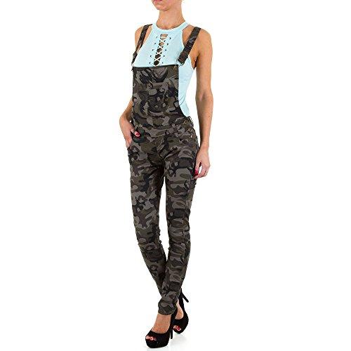 Damen Jeans Hose Jeanshose Camouflage Skinnyhose Skinnyjeans Latzhose Grau XS