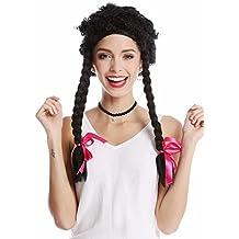 WIG ME UP ® - 785-38-ZA103 Peluca Mujer Carnaval Halloween rizos rizados trenzas largas, estilo salvaje Afro Caribe negro