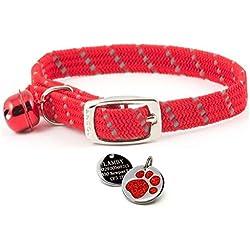Carlton Trading Ancol Collier réfléchissant en tissu doux et élastique pour chat Médaille gravée avec un imprimé brillant au motif patte Rouge