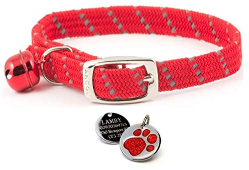 ANCOL Cat Red Reflective Elasticated Softweave  Collar With Engraved Paw Print Glitter Cat ID Tag