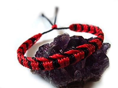 Bracelet brésilien/amitié/bijoux unisexe en fil ciré Rouge et Noir tissé main en macramé