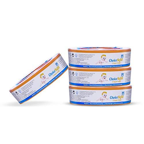 ChoiceRefill 4er-Pack Nachfüllkassetten für Angelcare Windeleimer, Jede Ersatzkassette für bis 270 Windeln, 7 Schichten Geruchsbarrieren, Anti-Geruch /-Bakterien, Belastbar und Reißfest Nachfüllpack