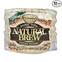 Natural Brew Basket Coffee Filters, 8-12 Cup, Natural Brown Paper, 200-Count Bags
