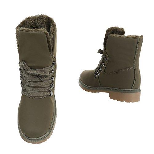 Ital-Design Schnürstiefeletten Damenschuhe Combat Boots Blockabsatz Warm Gefütterte Schnürsenkel Stiefeletten Olive ZY9103