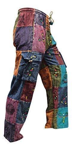 Shopoholic Fashion Acidwashed Unisex Patchwork Sommer Festival Hippie Hose - Multi Farben, X-Large (Patchwork Hippie)