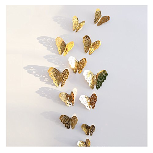 r 3D PVC Schmetterlings Hohle DIY Hauptdekor Plakat Kind Raum Wand Dekoration Partei Hochzeits Dekor Wandtattoo Kühlschrank Aufkleber (Gold) (Partei Dekorationen Für Den Ruhestand)