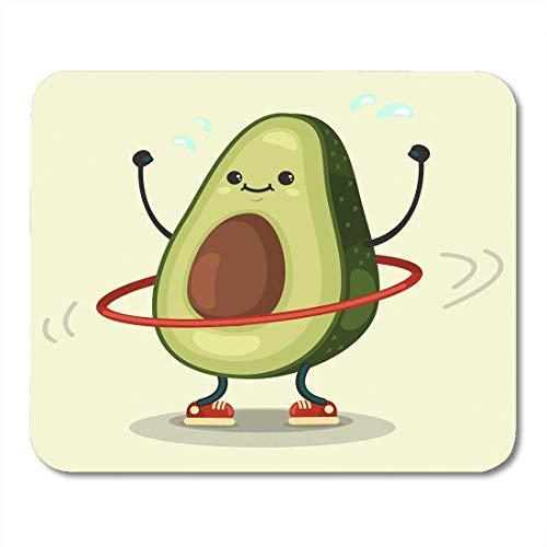 Luancrop Mauspads Nette Avocado-Zeichentrickfilm-Figur, die Übungen TUT Hula Hoop Essen gesund und Eignung flaches Retro Mousepad für Laptop, Tischrechner-Bürozubehöre Mauspads (Flach übungen)
