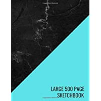 Large 500 Page Sketchbook: Blue Black Marble Art Sketch Paper Sketching, Drawing, Creative Doodling to Draw and Journal