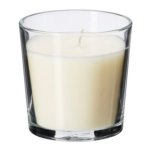 Ikea sinnlig - candela profumata in vetro, colore: vaniglia piacere, naturale - 7,5 cm