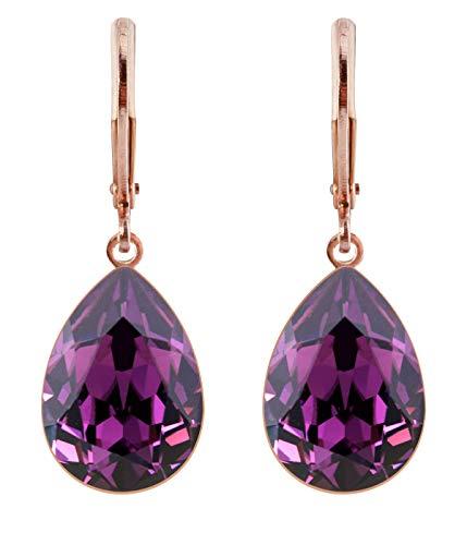 petra kupfer Damen Ohrringe Ohrhänger Tropfen Anhänger 1 Swarovski®-Kristall Lila Amethyst Rose Gold vergoldet rdh1-rg-amethyst