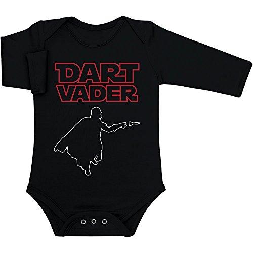 Dart Vader - Cooles Motiv für Kleine Fans Baby Langarm Body 62/68 (3-6M) Schwarz