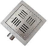 Edelstahl-Duschrinne S05 Bodenablauf für Duschkabine - inkl. Ablaufblende - Größe wählbar, Größe:13.5 x 13.5 cm