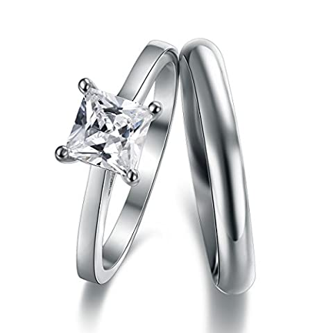 Classic Princess Cut Solitaire Engagement Ring With 3mm D-Shape Heavy Silver Wedding Band Ring In Sizes Complete With Gift Ring Box