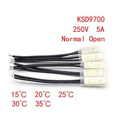1 unids KSD9700 250V 5A Interruptor de temperatura de disco bimetálico N/O...