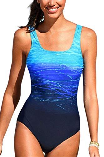 ZHRUI Frauen Badeanzug Einteiler Monokini Kreuz zurück Badeanzug (Farbe : Blau, Größe : XX-Large)
