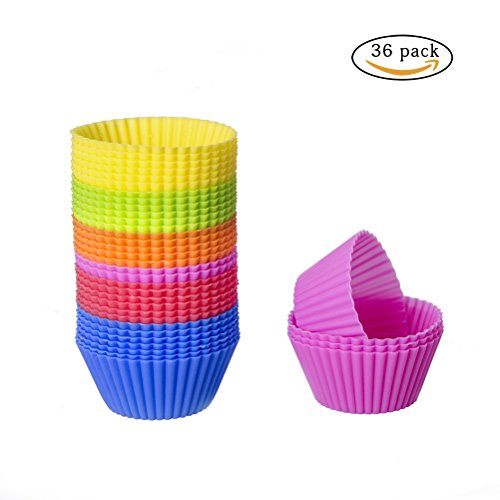 Premium Silikon Muffinförmchen, Vicloon Muffinförmchen, Cupcakeförmchen, Muffinform, Cupcake Muffinform, Backförmchen, Muffin Form für Fondant Kuchen Dessert Cup Cake Pudding Gelee Mini-Cupcake DIY Tools, antihaft, spülmaschinenfest(36pcs, in 6 Farbe)
