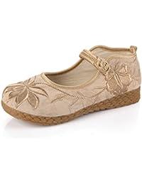 GTVERNH Old Beijing Zapatos Zapatos De Tela Bordado Boca Superficial Zapatos Bajos Hebillas Solo Zapatos Mujeres...