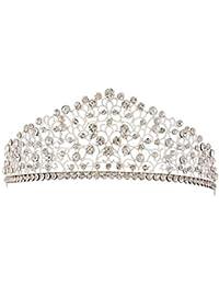 ZANHUI Moda Retrò Argento Sposa Corona Tiara Barocco Splendida Fascia Di  Cristallo Principessa Copricapo Accessori Gioielli Per Il… 444c41651e07
