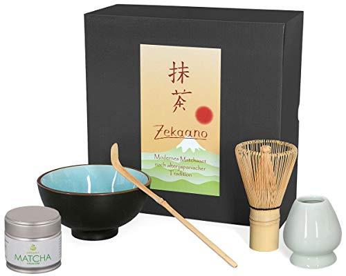 Juego de 5piezas para matcha, compuesto de té Matcha–Bol, cuchara de té Matcha, Té Matcha de escoba (bambú), soporte para escoba (y biomatcha en caja de regalo. Original Aricola®