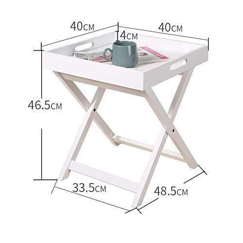 Side Tables,Tables Homestyle Folding Serving Tray Side Table Breakfast In Bed with Handle MDF (Color : White, Size : 40 * 40 * 46.5cm) White Breakfast Cup