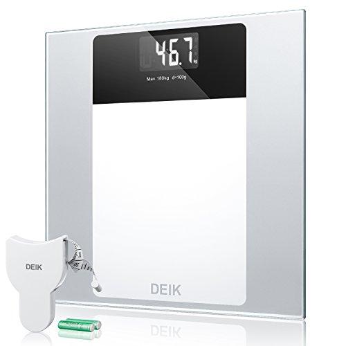 Deik Bascula Baño, Báscula Baño Digital con Pantalla LCD Retroiluminada, Alta Precisión, Gran Plataforma, 180 Kilogramm, Incluida Herramienta de Medida y 2 Baterías AAA, Transparente