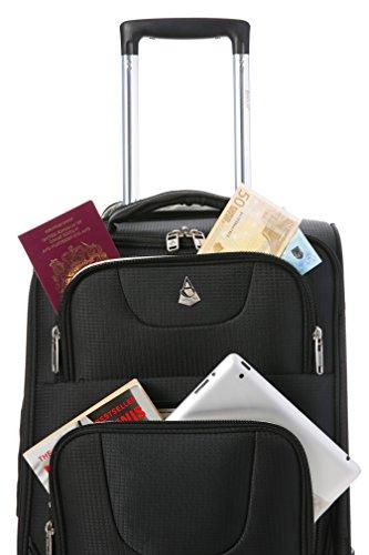 Aerolite Leichtgewicht 8 Rollen Handgepäck Trolley Koffer Bordgepäck Kabinentrolley Reisekoffer Gepäck , Genehmigt für Ryanair , Easyjet , Lufthansa , Jet2 und Vieles Mehr , Marineblau Schwarz