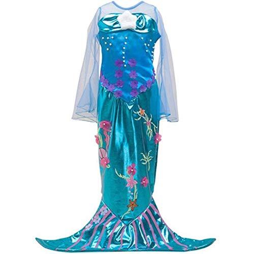 Kinder Kostüm Meerjungfrau Mermaid Kleid Mädchen, Verkleidung, Fasching, Karneval, Blau Türkis, 110/116