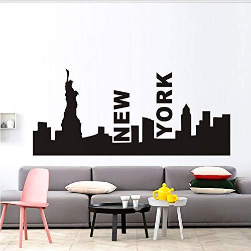 New York City Silhouette Freiheitsstatue Wandaufkleber Abnehmbare Moderne Stadt Bild Design Wandbild Schlafzimmer Lounge Wand Art Deco 96x42cm (City York Party-stadt New)