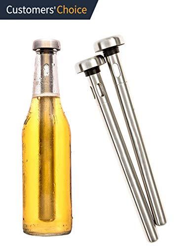 Bierkühlstab, 2 Stück, tragbarer Edelstahl-Bierkühler für Flasche, Zuhause, Bar, Party, Grillen im Freien, Herren Favoriten
