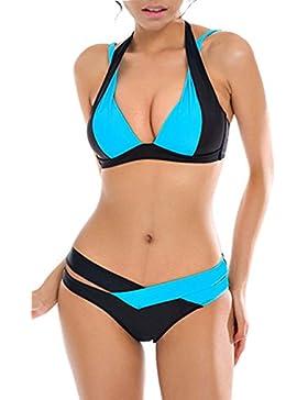 Aidonger Damen Elegant Weiß und Schwarz Bikini-Sets Neckholder Push-Up Bademode Zweiteilig Strandmode