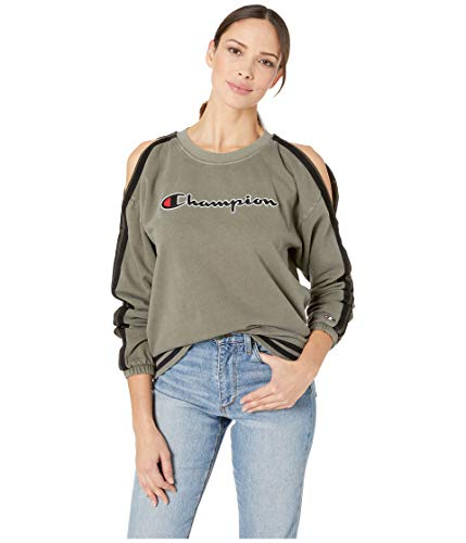 Champion Life Damen Vintage Dye Fleece Cold Shoulder Top Sweatshirt, Camouflage grün, Groß -