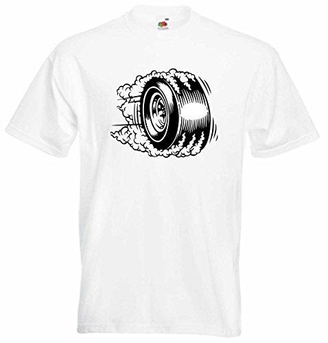 T-Shirt D943 T-Shirt Herren schwarz mit farbigem Brustaufdruck - Design Comic / Grafik Logo / Auto Tunning Rennen Felge macht Burnout Schwarz