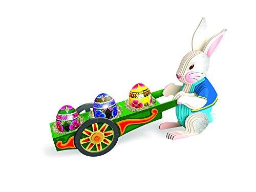 TruTru Animals Easter Bunny Wheelbarrow Egg Holder European 3D Puzzle DIY Craft Kit ; Arts and Crafts, Model Kit