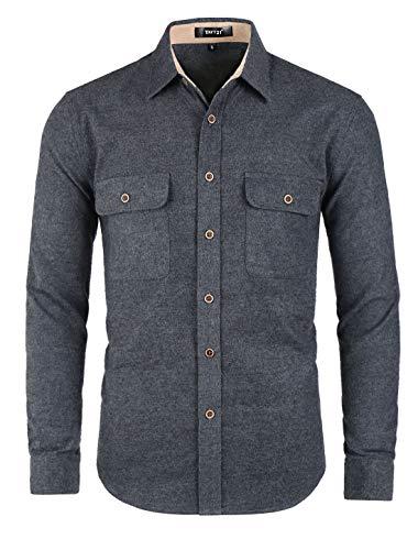 Corduroy Button Hemd (TATT 21 Herren Langarm Button Panel Brusttasche Hemd Shirt Dunkelgrau M)