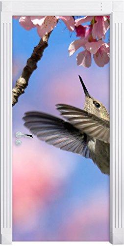 Hummingbird a Sakura come Murale, Formato: 200x90cm, telaio della porta, adesivi porta, porta decorazione, autoadesivi del portello