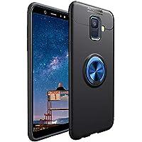 CESTOR Handyhülle für Samsung Galaxy J6 Plus [mit 360°Grad Drehbarer Ringhalter Fingerhalter],Luxus Ultra Dünn Weich Flexibel TPU Silikon HandyHülle für Samsung Galaxy J6 Plus,Schwarz+Blau