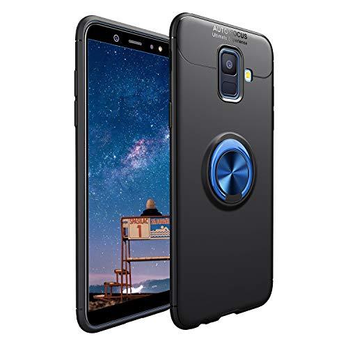 CESTOR Handyhülle für Samsung Galaxy A6 2018 [mit 360°Grad Drehbarer Ringhalter Fingerhalter],Luxus Ultra Dünn Weich Flexibel TPU Silikon HandyHülle für Samsung Galaxy A6 2018,Schwarz+Blau