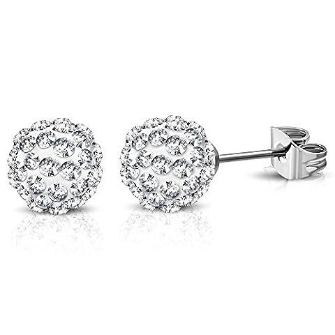 Bungsa® shamballa disco ball earrings 8mm Silver and Crystal Earrings–1Pair Of Stainless Steel Clear Crystal Hoop Earrings Ear Men Women Argil Women
