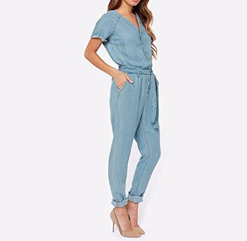 QIYUN.Z Bleu Femmes Tie-up Combinaisons Casual Col V Manches Courtes Vetement De Denim Bleu