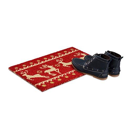 Relaxdays Fußmatte Weihnachten Kokos, HxBxT: 1,5 x 60 x 40 cm, Rentiere, Sterne, Glitzer, Kokosfaser, Gummi, mehrfarbig