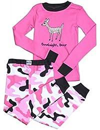 LazyOne Niñas Good Night Deer Niño Pijama Set Manga Larga